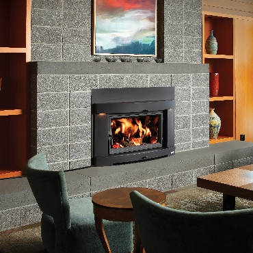 Flush Wood Burning Fireplace Insert by Lopi