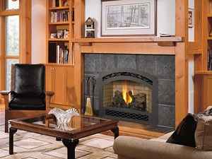FPX 564 Space Saver DV Gas Fireplace with French Country Arch Black Face