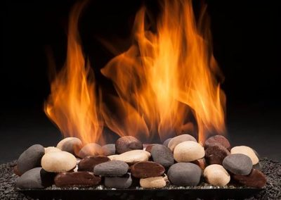 contemporary fire pan river stones