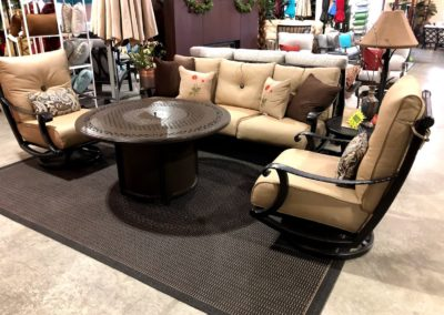 Cast Aluminum Hammered Sofa 2 Swivel Lounge Tan Fabric